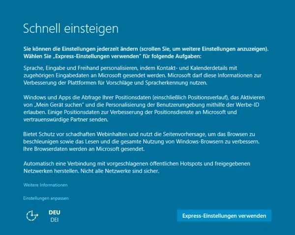 Beim Anlegen des Microsoft Benutzerprofils, enstehen benutzerspezifische Einstellungen