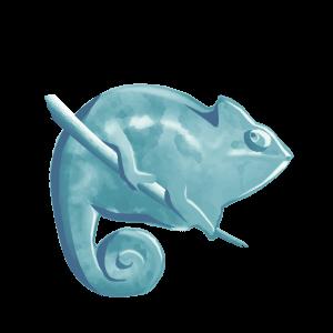 Unser Logo ein Chamäleon in Blaugrün