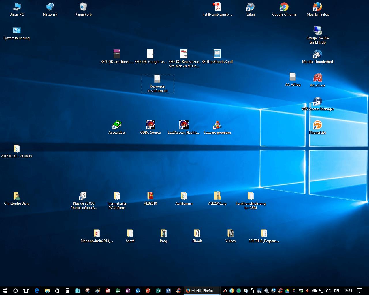 Desktop organisieren: schnellerer Zugriff auf Dateisystem,  oft benutzte Programme und Dateien