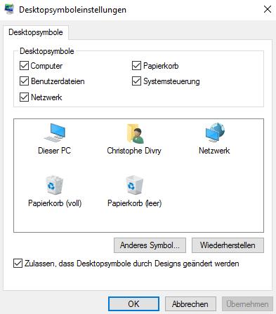 wichtige Icons auf dem Desktop anzeigen
