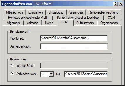 Servergespeichertes Benutzerprofil